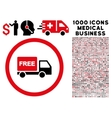 Free Delivery Rounded Icon With Medical Bonus vector image