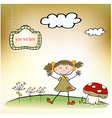 fun background with little girl vector image