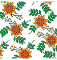 seamless pattern flower branch leaves nature vector image