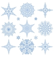 Snowflakes shapes collectionWinter iconStar vector image