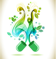 Opened green color pill with abstract wave vector image