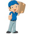 Cartoon postman gives thumb up vector image