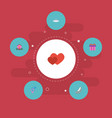 flat icons love chariot present and other vector image