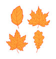 four orange leaves vector image