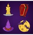 Halloween cartoon icon objects vector image
