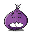 praying red onion character cartoon vector image