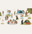 set of tourists or backpackers pitching tent vector image