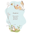 spring card with bird and flowers vector image