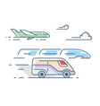 Air road and rail transport vector image vector image