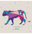 The 2022 new year card with Tiger made of vector image