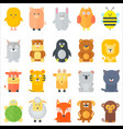 animal icons collection flat animals set vector image