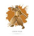 gold ninja and sword vector image