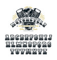decorative serif font in biker style vector image