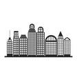 silhouette monochrome city landscape with vector image