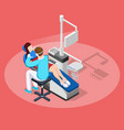dental stopping isometric composition vector image
