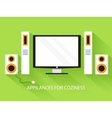 Flat media home theater background concept vector image