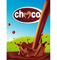 chocolate design with pouring splash of chocolate vector image