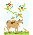 cute cow and bird friendship vector image vector image