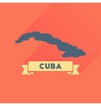 Flat icon with long shadow map of Cuba vector image
