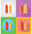 fast food flat icons 16 vector image