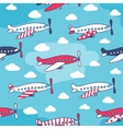 Seamless pattern of cute airplanes vector image