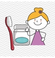 girl with dental floss isolated icon design vector image
