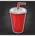 Cola cup color picture sticker vector image