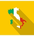 Map of Italy in national flag colors icon vector image