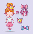 set ballet accesories decoration design vector image
