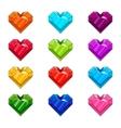 Set with cartoon hearts vector image