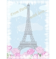 Grunge Eiffel tower with roses vector image