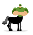 Centaur soldier in green beret Military mythical vector image