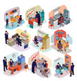 Set of isometric people in business suits in the vector image
