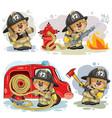 set of clip arts of teddy bear fireman vector image