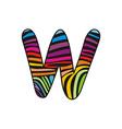 Background skin zebra shaped letter W vector image