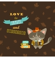 Cat traveler in suit with cup of coffee and vector image