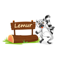 Cartoon zoo lemur sign vector image vector image