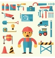 Builders icons set vector image