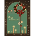 Christmas greeting card with wreatjh on window vector image