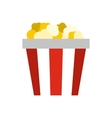 Popcorn in striped cardboard bucket icon vector image
