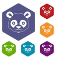 Head of panda icons set vector image
