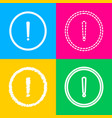 exclamation mark sign four styles of icon on four vector image