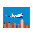 propeller airplane taking off with buildings vector image