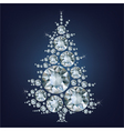 Christmas tree made a lot of diamonds vector image vector image