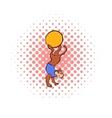 Circus monkey on the ball comics icon vector image