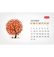 calendar 2012 december Art tree design vector image vector image