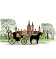 carriage with horse old castle view city park vector image