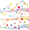 Colorful music design with stave butterflies vector image