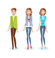 girls in casual clothes in suit jeans blouse vector image