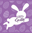 silhouette jumping rabbit happy easter egg vector image